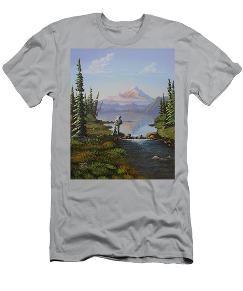 Men's T-Shirt (Slim Fit) featuring the painting Fishing The High Lakes by Richard Faulkner