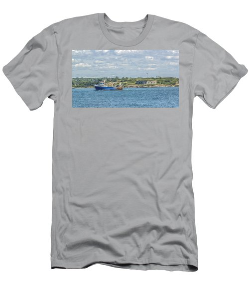 Men's T-Shirt (Slim Fit) featuring the photograph Fishing Trawler Coming Into Port by Jane Luxton