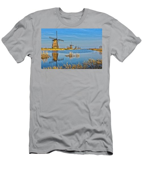 Five Windmills At Kinderdijk Men's T-Shirt (Slim Fit) by Frans Blok