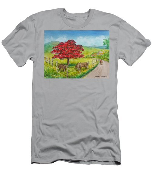 Flamboyan And Cows In Western Puerto Rico Men's T-Shirt (Slim Fit) by Frank Hunter