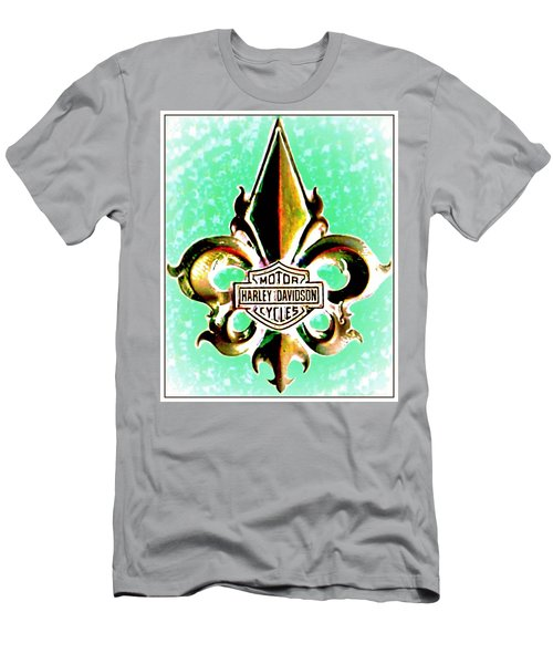 Fleurs De Lys And Harley Davidson Logo Bronze Green Men's T-Shirt (Athletic Fit)