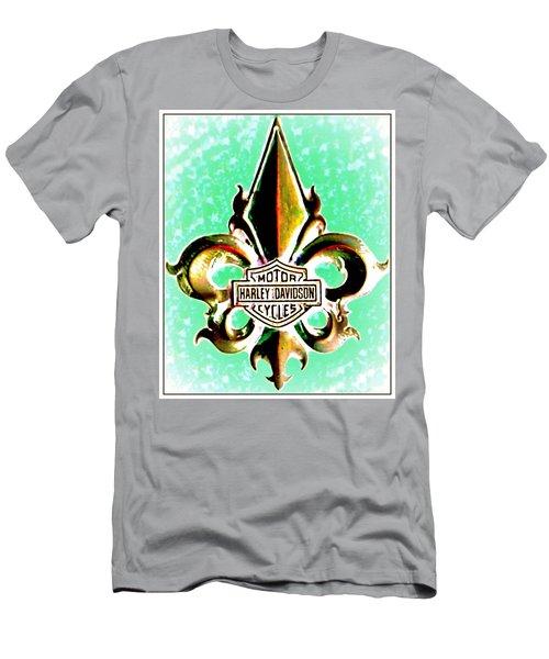 Fleurs De Lys And Harley Davidson Logo Bronze Green Men's T-Shirt (Slim Fit) by Danielle  Parent