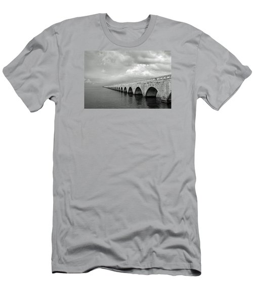Florida Keys Seven Mile Bridge Black And White Men's T-Shirt (Slim Fit) by Photographic Arts And Design Studio