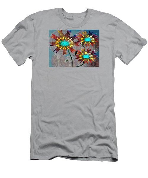Men's T-Shirt (Slim Fit) featuring the drawing Flowering Blooms by Iris Gelbart