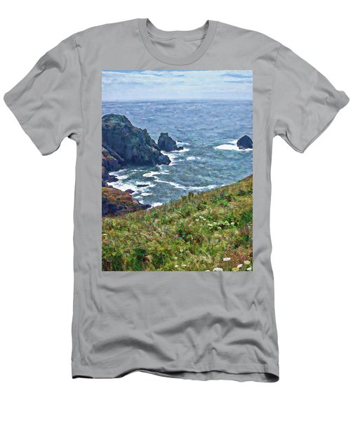 Flowers On Isle Of Guernsey Cliffs Men's T-Shirt (Athletic Fit)