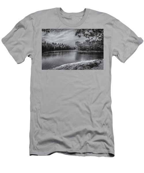 Men's T-Shirt (Slim Fit) featuring the photograph Fork In River Bw by Mark Myhaver