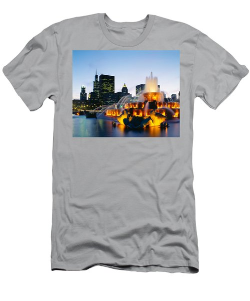 Fountain In A City Lit Up At Night Men's T-Shirt (Athletic Fit)