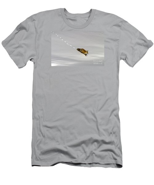 Men's T-Shirt (Slim Fit) featuring the photograph Fox In The Snow-signed by J L Woody Wooden