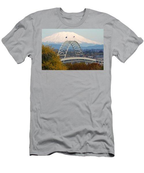 Fremont Bridge And Mount Saint Helens Men's T-Shirt (Athletic Fit)