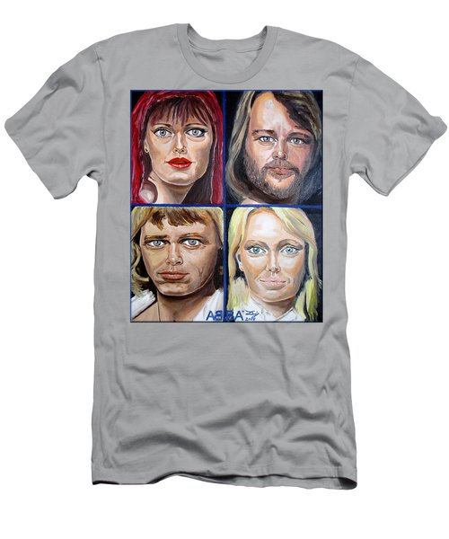 Men's T-Shirt (Slim Fit) featuring the painting Frida Benny Bjorn Agnetha by Daniel Janda