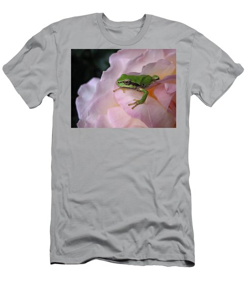Men's T-Shirt (Slim Fit) featuring the photograph Frog And Rose Photo 3 by Cheryl Hoyle