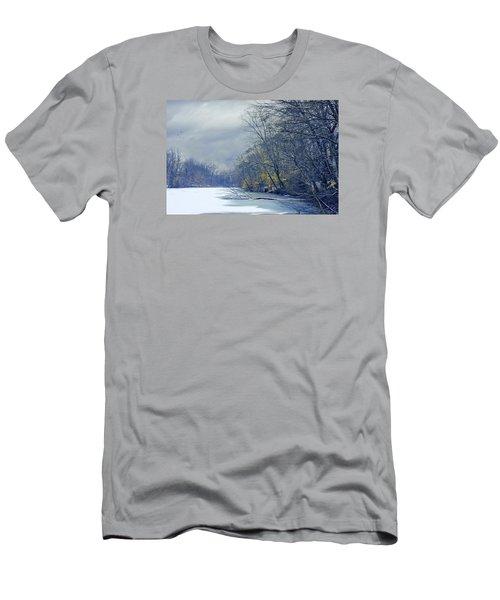 Men's T-Shirt (Slim Fit) featuring the photograph Frozen Pond by John Rivera
