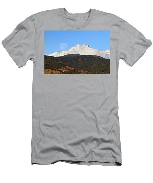 Full Moon Setting Over Snow Covered Twin Peaks  Men's T-Shirt (Athletic Fit)