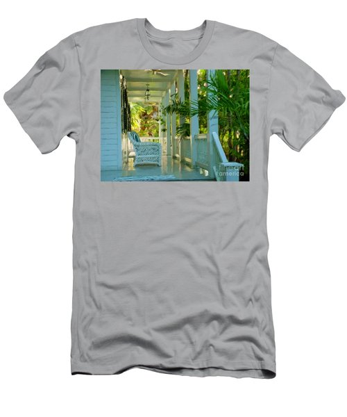 Gardens Porch In Key West Men's T-Shirt (Slim Fit) by David  Van Hulst