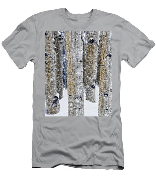 Gently Falling Forest Snow Men's T-Shirt (Slim Fit) by Don Schwartz