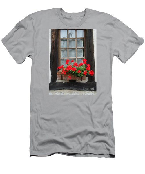 Geraniums In Timber Window Men's T-Shirt (Athletic Fit)