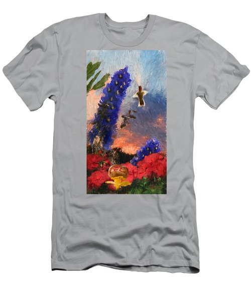 Geraniums Red And Delphiniums Blue Men's T-Shirt (Athletic Fit)