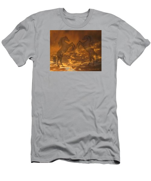 Ghost Horses At Sunset Men's T-Shirt (Slim Fit) by Donald and Judi Hall