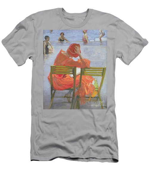 Girl In A Red Dress Reading By A Swimming Pool Men's T-Shirt (Athletic Fit)