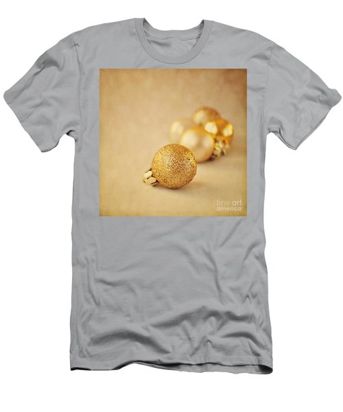 Gold Glittery Christmas Baubles Men's T-Shirt (Slim Fit) by Lyn Randle