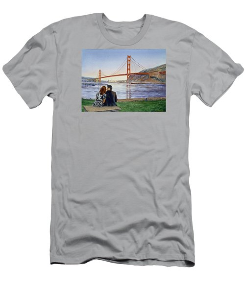 Golden Gate Bridge San Francisco - Two Love Birds Men's T-Shirt (Athletic Fit)