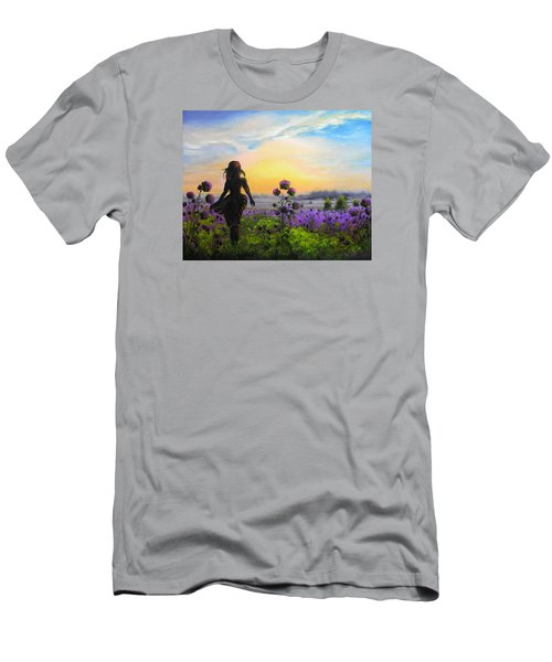 Men's T-Shirt (Slim Fit) featuring the painting Golden Surrender by Vesna Martinjak