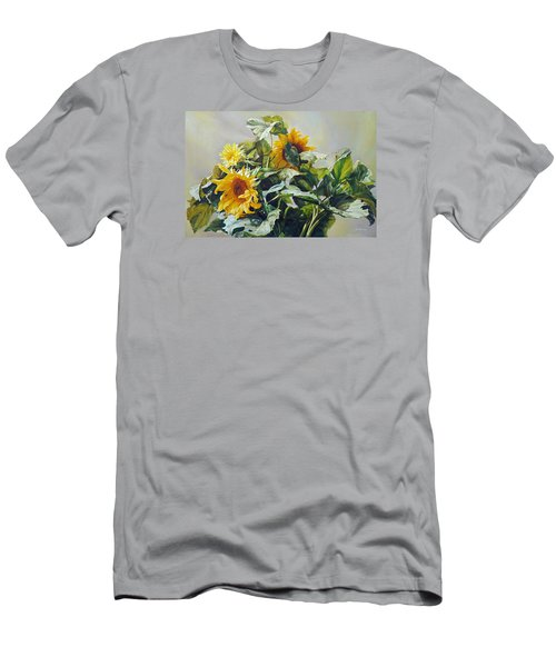 Men's T-Shirt (Slim Fit) featuring the painting Good Morning - Sunflower In Love by Svitozar Nenyuk