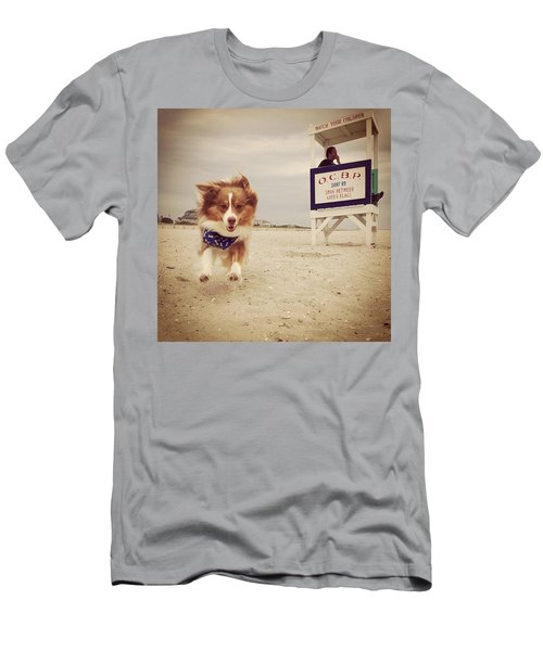 Goofball Pup And Some Hot Lifeguard On Men's T-Shirt (Athletic Fit)