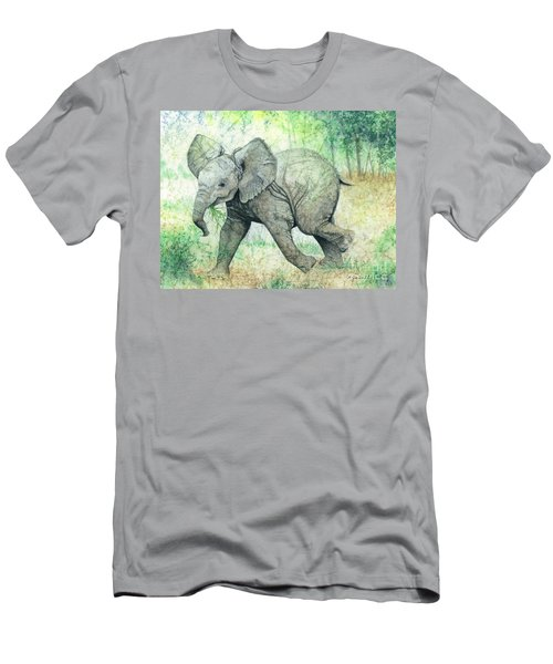 Men's T-Shirt (Slim Fit) featuring the painting Grabbing A Snack by Barbara Jewell