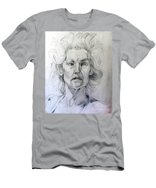 Men's T-Shirt (Slim Fit) featuring the drawing Graphite Portrait Sketch Of A Well Known Cross Eyed Model by Greta Corens