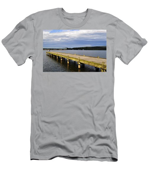 Great Blue Heron Sunning On The Dock Men's T-Shirt (Athletic Fit)