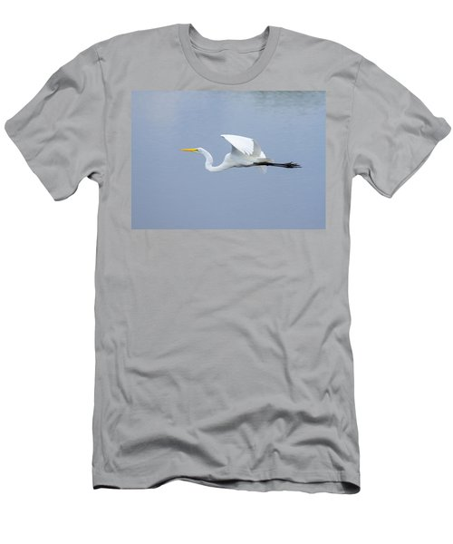 Men's T-Shirt (Slim Fit) featuring the photograph Great Egret In Flight by John M Bailey