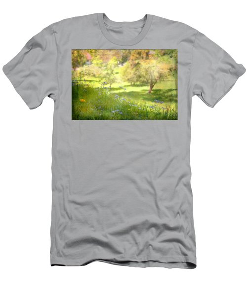 Men's T-Shirt (Slim Fit) featuring the photograph Green Spring Meadow With Flowers by Brooke T Ryan