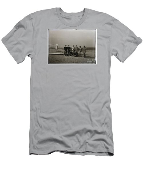 The Wright Brothers Group Portrait In Front Of Glider At Kill Devil Hill Men's T-Shirt (Slim Fit) by R Muirhead Art