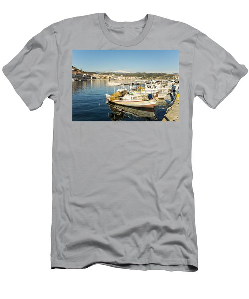 Gytheion Harbour Men's T-Shirt (Slim Fit) by Mike Santis