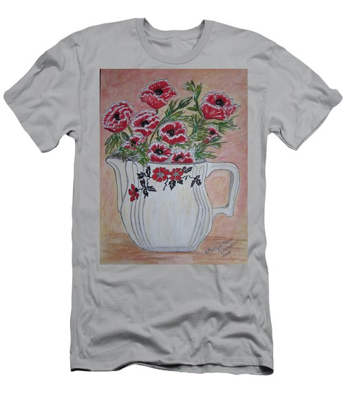 Men's T-Shirt (Slim Fit) featuring the painting Hall China Red Poppy And Poppies by Kathy Marrs Chandler