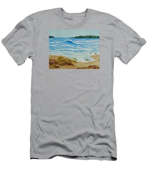 Men's T-Shirt (Slim Fit) featuring the painting Hello? by Katherine Young-Beck