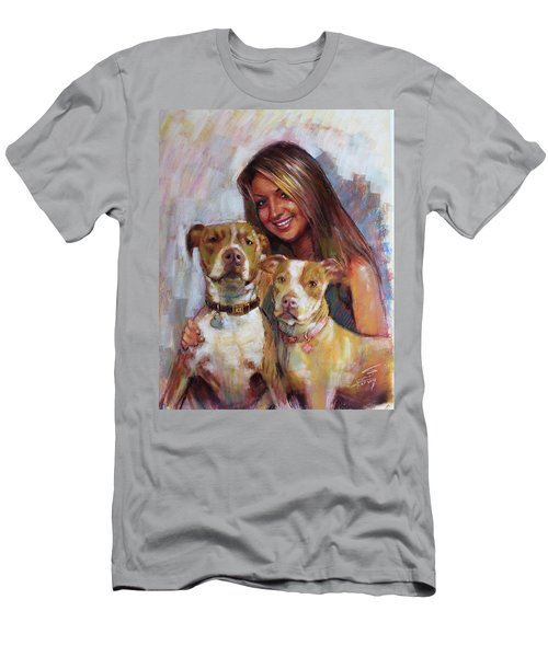 Men's T-Shirt (Slim Fit) featuring the drawing Her Best Friends by Viola El