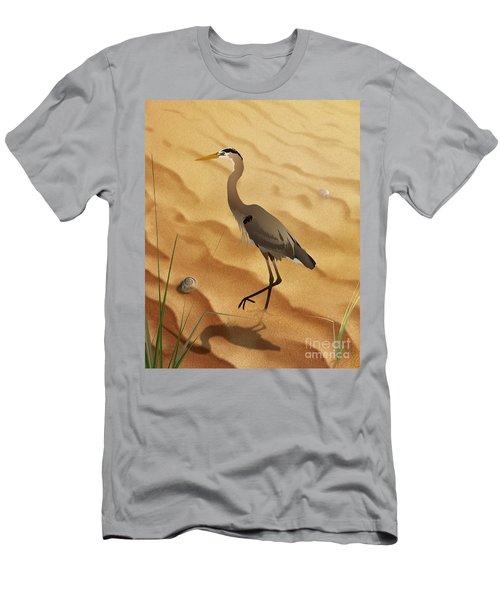 Heron On Golden Sands Men's T-Shirt (Athletic Fit)