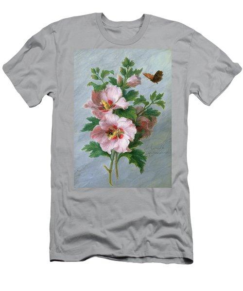 Hibiscus Against A Marble Ledge Men's T-Shirt (Athletic Fit)
