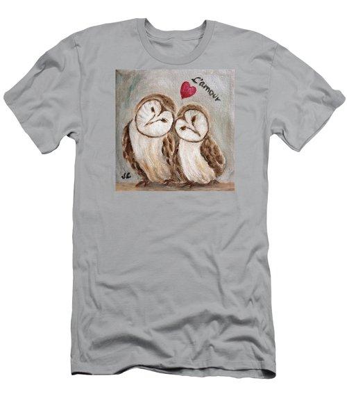 Hiboux Dans L'amour Men's T-Shirt (Athletic Fit)