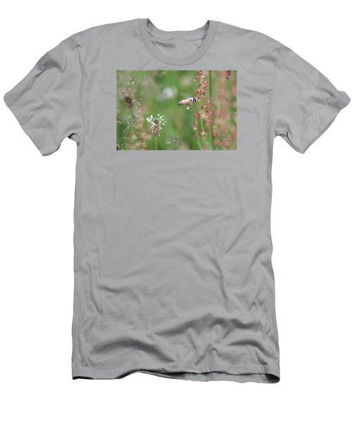 Honeybee Flying In A Meadow Men's T-Shirt (Slim Fit) by Lucinda VanVleck