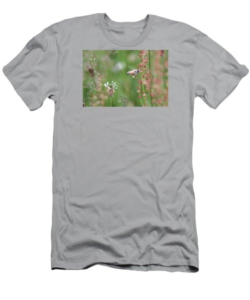 Honeybee Flying In A Meadow Men's T-Shirt (Athletic Fit)