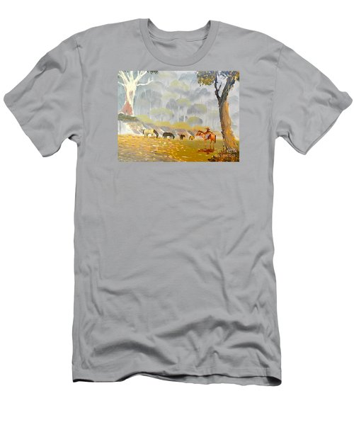 Horses Drinking In The Early Morning Mist Men's T-Shirt (Athletic Fit)