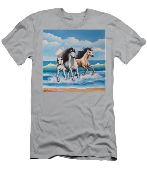 Horses On A Beach Men's T-Shirt (Athletic Fit)
