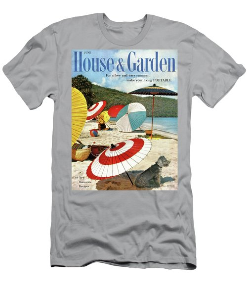 House And Garden Featuring Umbrellas On A Beach Men's T-Shirt (Athletic Fit)