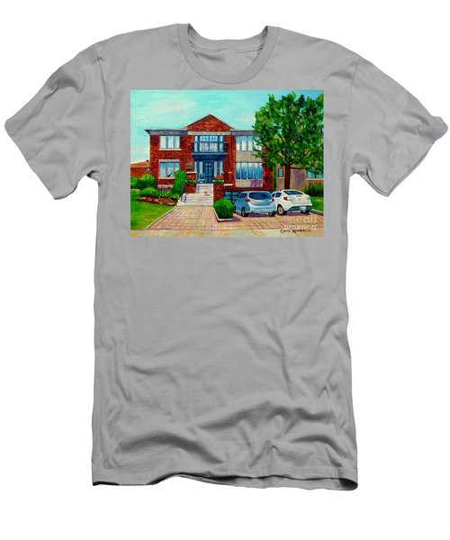 House Portrait-house  Art-commissioned  Montreal Paintings-carole Spandau Men's T-Shirt (Athletic Fit)