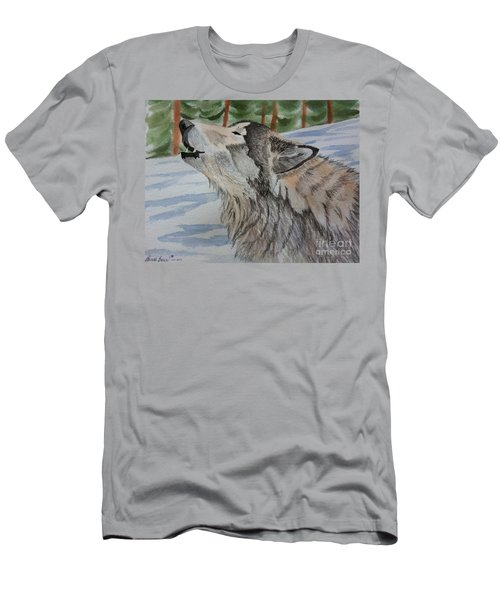 Howling Wolf In Winter Men's T-Shirt (Athletic Fit)