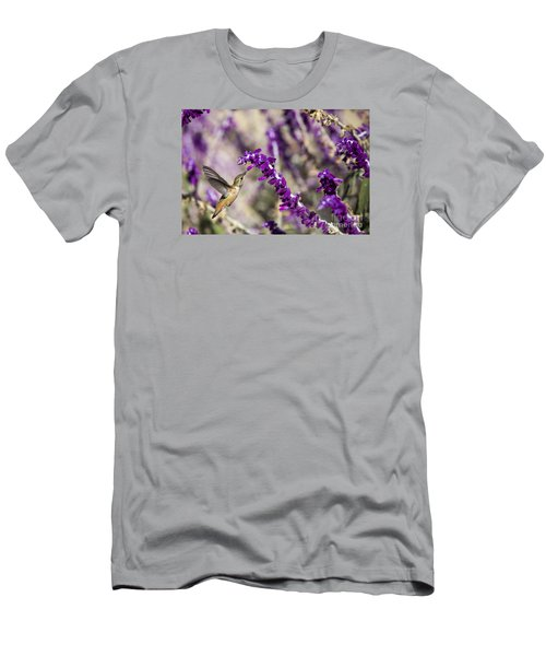 Men's T-Shirt (Slim Fit) featuring the photograph Hummingbird Collecting Nectar by David Millenheft