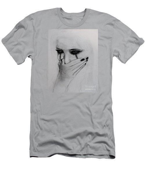 Men's T-Shirt (Slim Fit) featuring the drawing Hurt by Michael Cross